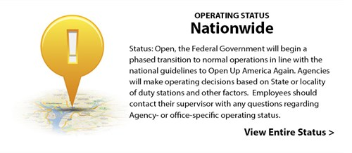 Operating Status: Nationwide - Status: Open, the Federal Government will begin a phased transition to normal operations in line with the national guidelines to Open Up America Again. Agencies will make operating decisions based on State or locality of duty stations and other factors.  Employees should contact their supervisor with any questions regarding Agency- or office-specific operating status. View Entire Status >