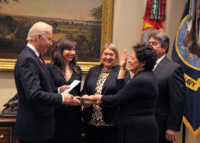 OPM Director Katherine Archuleta being sworn in by Vice President Joe Biden
