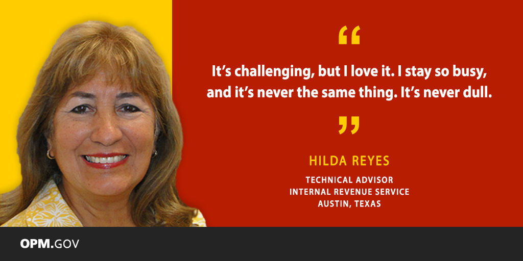 Photo of Hispanic Federal employee Hilda Reyes, who is an IT technical advisor at the IRS.
