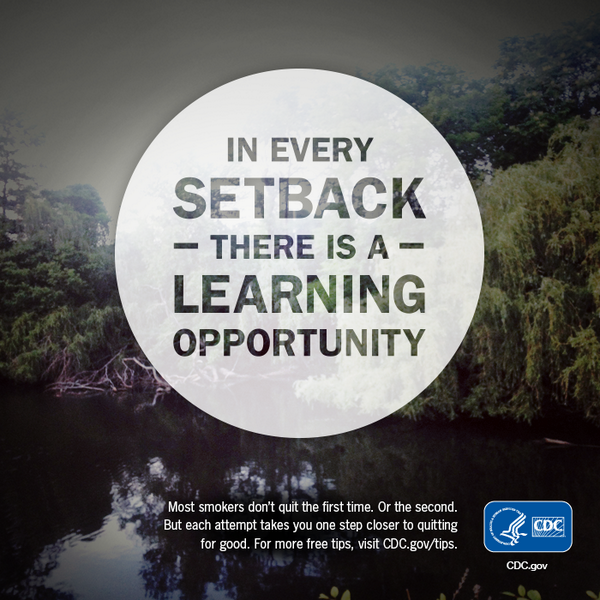 Image with trees in background that has text in the middle inside of a circle that says 'every setback is a new opportunity'