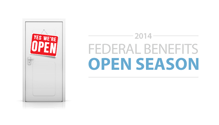 Open Season image with door on left with a sign that says 'Open'. Text on the right Says 2014 Federal Benefits Open Season