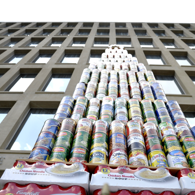 Tower of Cans against OPM's Building