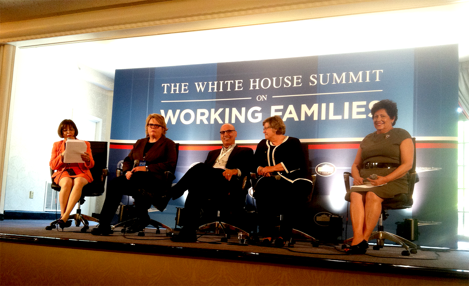 Director Archuleta (far right) sits on the panel with four other members for Working Families.