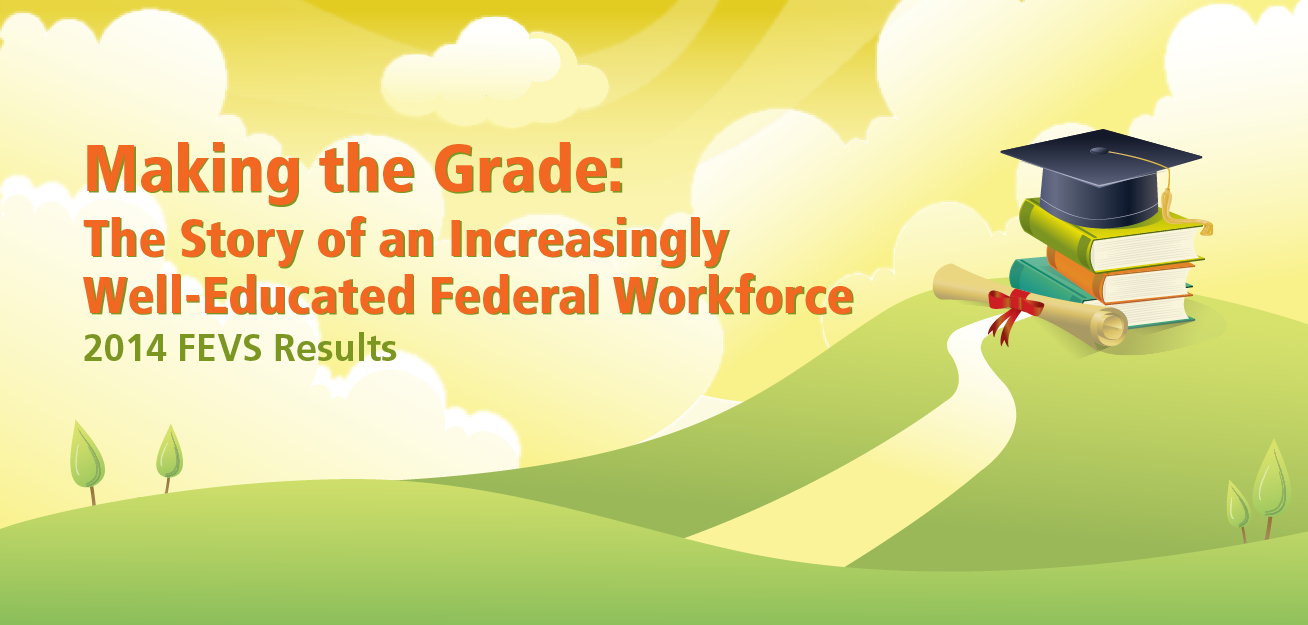 Image with yellow background and green hills with the text that says 'Making the Grade: The Story of an Increasingly Well-Educated Federal Workforce'