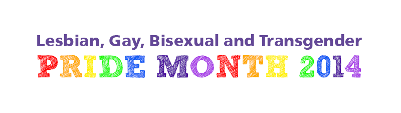 Banner with the text Lesbian, Gay, Bisexual and Transgender Pride Month 2014