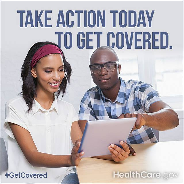 Text at top: Take Action today to get covered. Image of woman and man pointing at tablet screen.