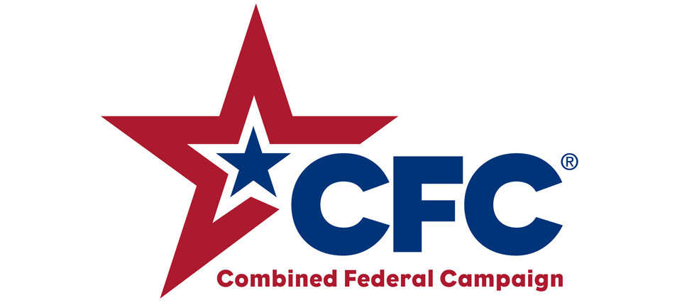 Graphic with white background. Blue star within red star to the left of the headline. Headline: CFC. Subhead: Combined Federal Campaign.
