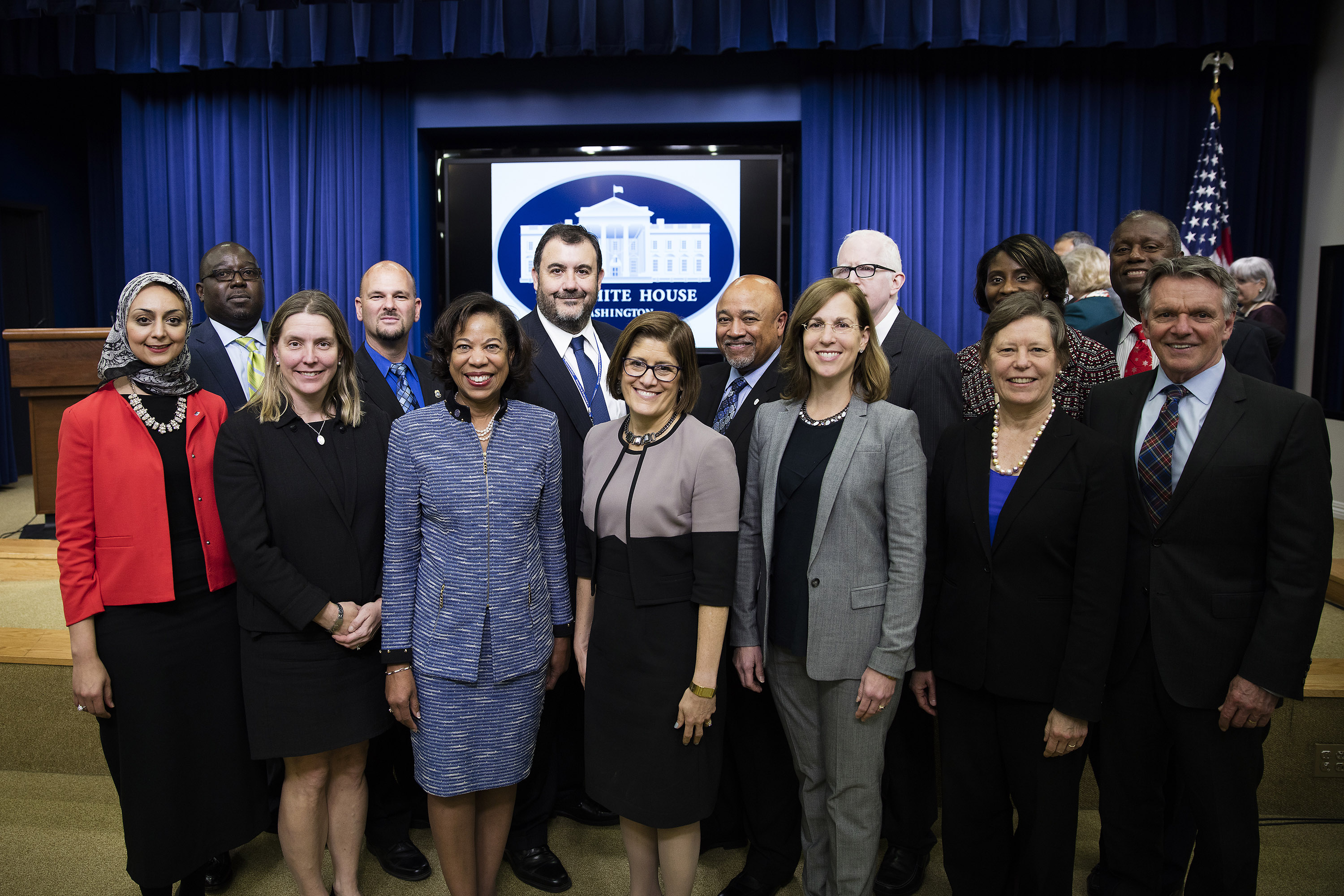 Photo of Acting Director Cobert, and Director of the White House Office of Management and Budget Shaun Donovan, along with fellow colleagues.