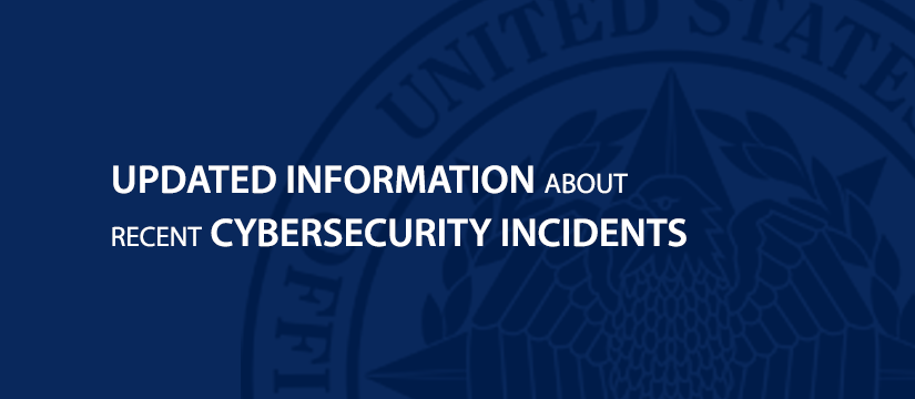 Graphic with blue background. Filling most the page is the OPM logo. Headline: UPDATED INFORMATION about recent CYBERSECURITY INCIDENTS.