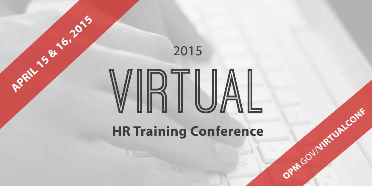 Hands on a keyboard behind the text: '2015 Virtual HR Training Conference'