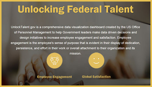 Text rich graphic with a hand maneuvering a computer mouse, with text that reads: Unlocking Federal Talent  UnlockTalent.gov is a comprehensive data visualization dashboard created by the US Office of Personnel Management to help Government leaders make data driven decisions and design initiatives to increase employee engagement and satisfaction. Employee engagement is the employee's sense of purpose that is evident in their display of dedication, persistence, and effort in their work or overall attachment to their organization and its mission.