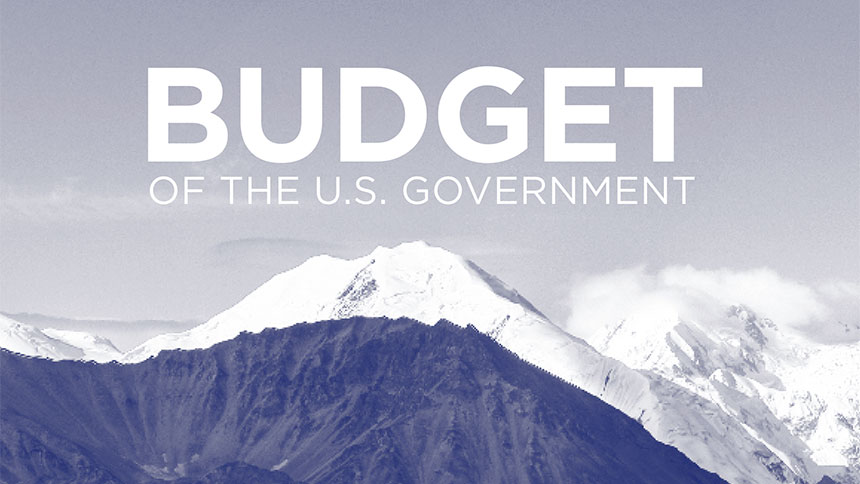 Black and white graphic with an image of a mountain and text which reads: Budget of The U.S. Government