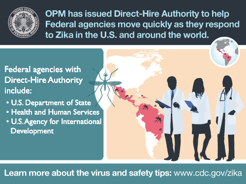 Infographic with silhouettes of doctors a map and mosquito Text which reads: OPM has issued Direct-Hire Authority to help Federal agencies move quickly as they respond to Zika in the U.S. and around the world. Federal agencies with direct-hire authority include: Department of State, Health and Human Services, and the U.S. Agency for International Development. Learn more about the virus and safety tips: www.cdc.gov/zika