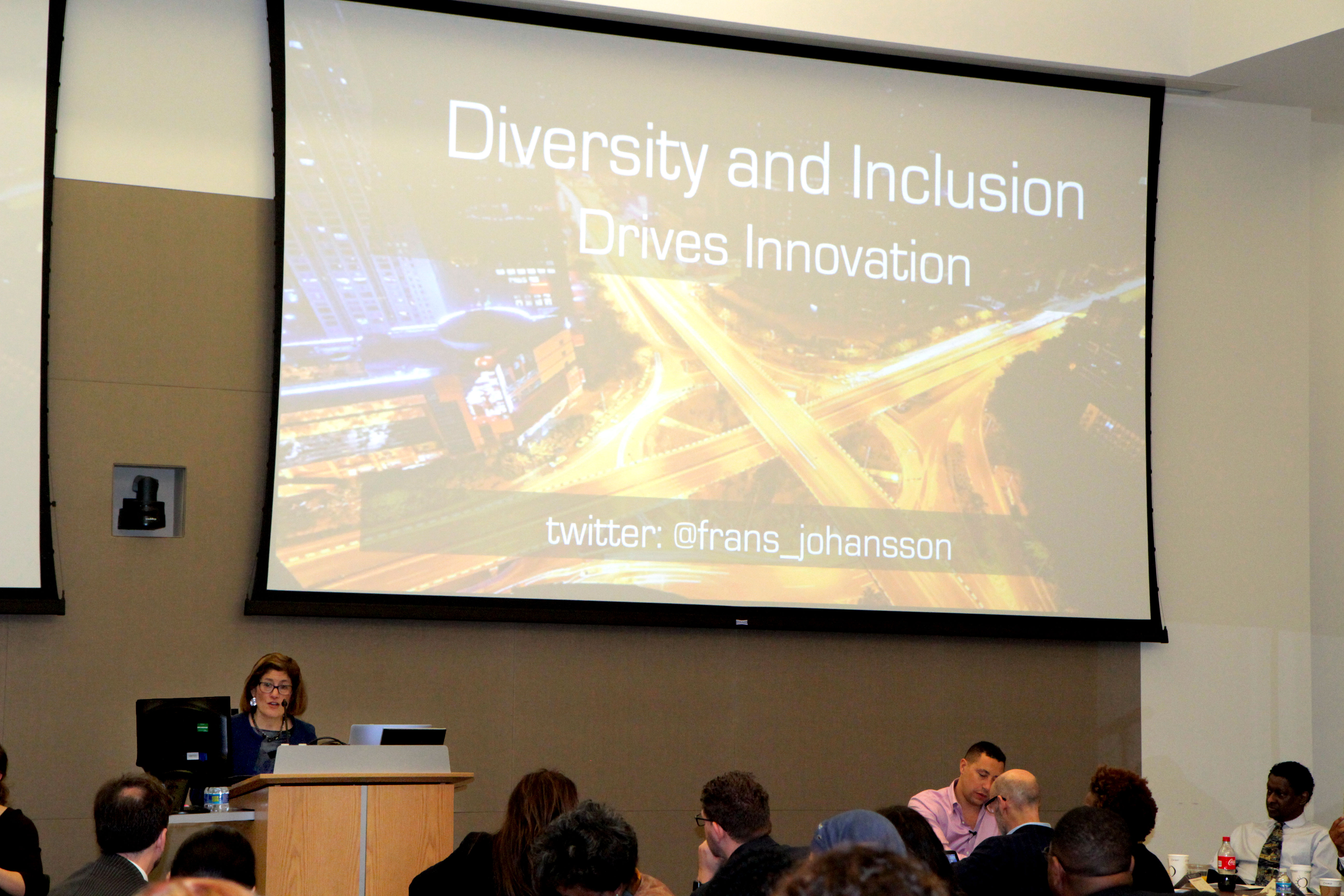 Photo of Acting Director Colbert presenting the Diversity and Inclusion Drives Innovation at the U.S. Coast Guard Headquarters.