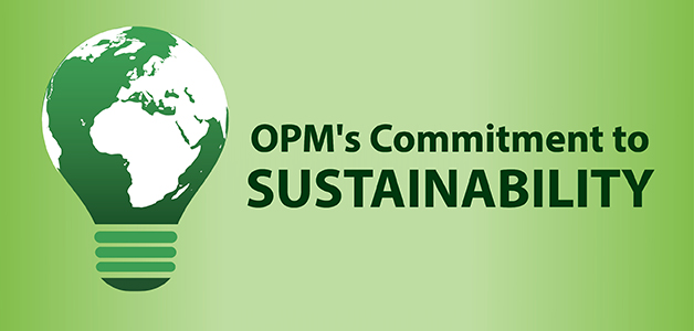 graffic with light green background. Primary image on left is a large lightbulb earth themed. Headline: OPM's Commitment to SUSTAINABILITY.