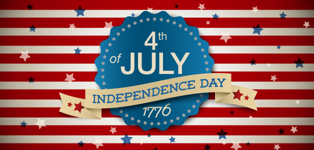 Flag background with stars, 4th of July Independence Day 1776 written in the center
