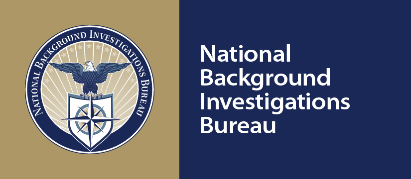 A gold background on the left with the NBIB seal in dark blue. The right half has a navy blue background with the white text National Background Investigations Bureau and NBIB.gov in the right corner.