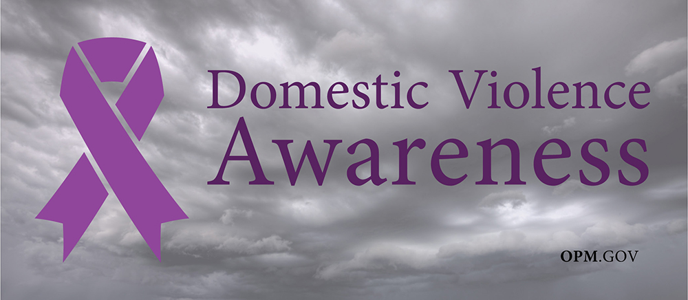 Background with storm clouds, with the phrase 'Domestic Violence Awareness' phrase in purple, next to a purple ribbon and OPM.gov in the bottom right corner