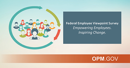 On the left side of the image a group of cartoon people from the shoulders up are in a group with three arrows of different sizes circling them. On the right is a blue box with white text that reads Federal Employee Viewpoint Survey: Empowering Employees. Inspiring Change. OPM.gov logo in the right hand corner.