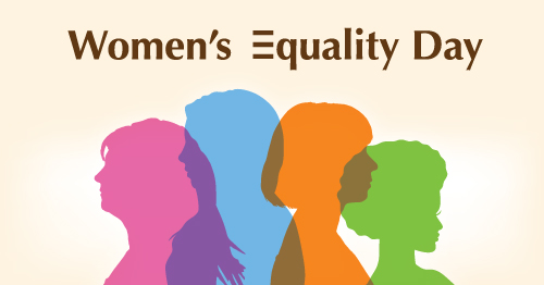 Image of four silhouetted women all in different colors. From left to right, pink, blue, orange, green. Text says Women's Equality Day.