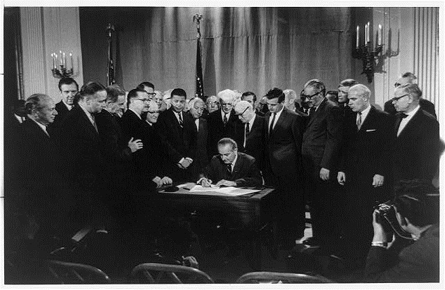 U.S. President Lyndon B. Johnson signed the Civil Rights Act of 1968, a follow-up to the Civil Rights Act of 1964. The 1968 act expanded on previous acts and prohibited discrimination concerning the sale, rental, and financing of housing based on race, religion, national origin, and since 1974, gender. Since 1988, the act protects people with disabilities and families with children. It also provided protection for civil rights workers. Photo Courtesy Library of Congress