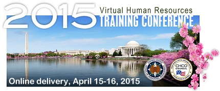 Graphic: 2015 Virtual Human Resources Training Conference Promo. Image of the Jefferson Memorial and the Monument in the background with Cherry Blossoms.