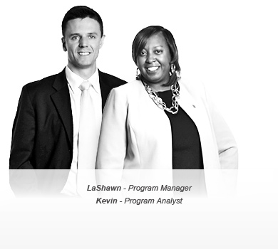 Photo of LaShawn [Program Manager] and Kevin [Program Analyst]