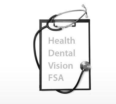 Clipboard with Health, Dental, Vision, FSA written on it