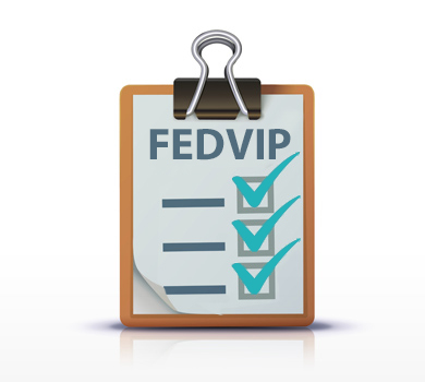 Stylistic form titled FEDVIP with check marks